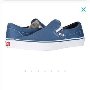 Blue canvas slip on vans